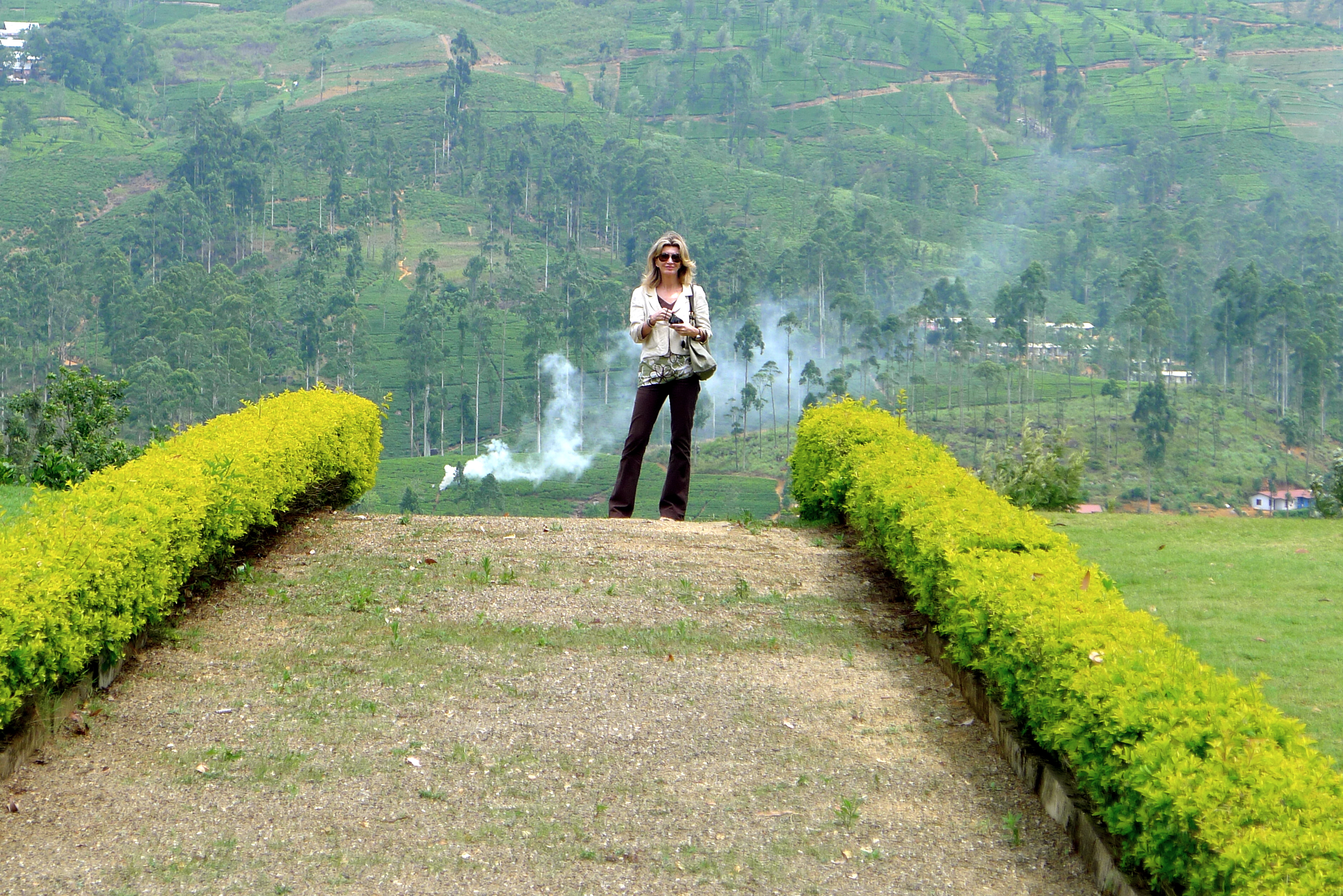 Slim Paley at tea plantation, Sri Lanka
