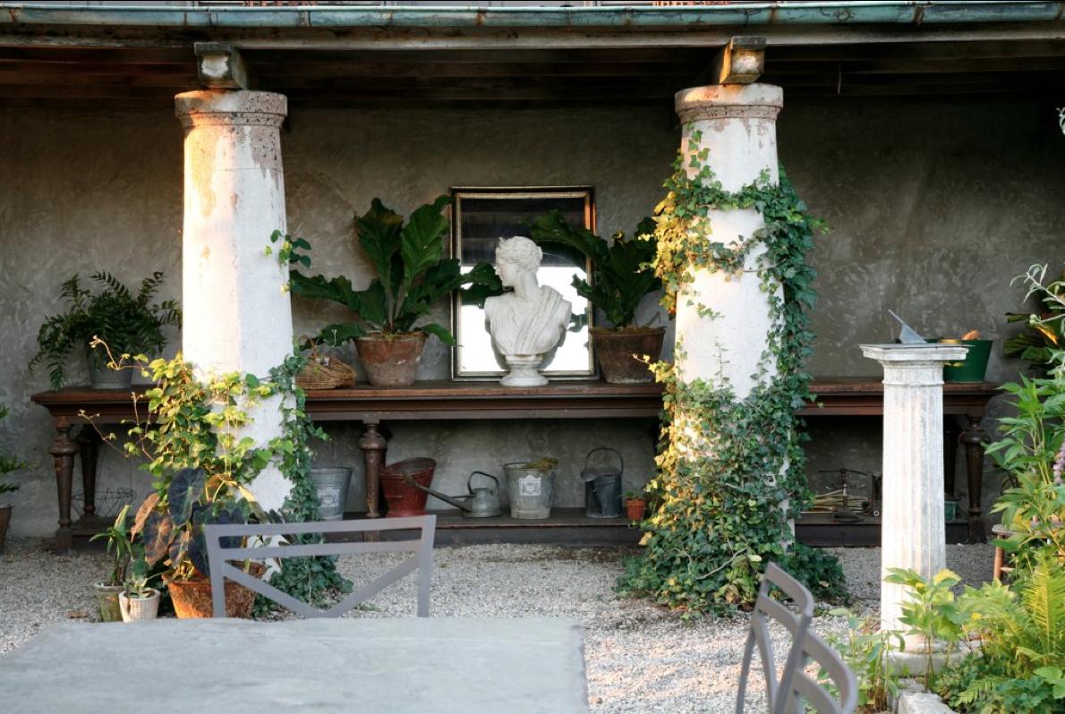 bust in garden