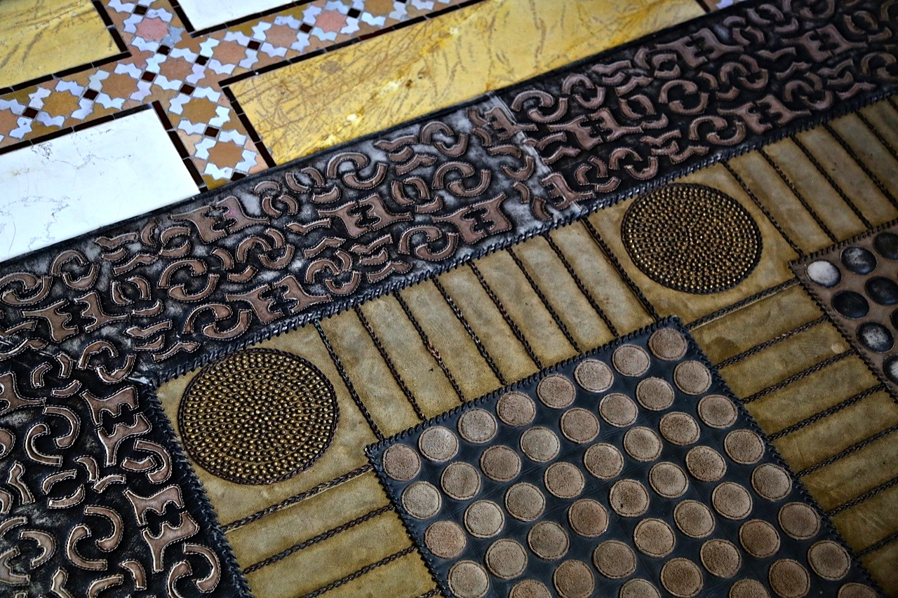 hand tooled leather rug