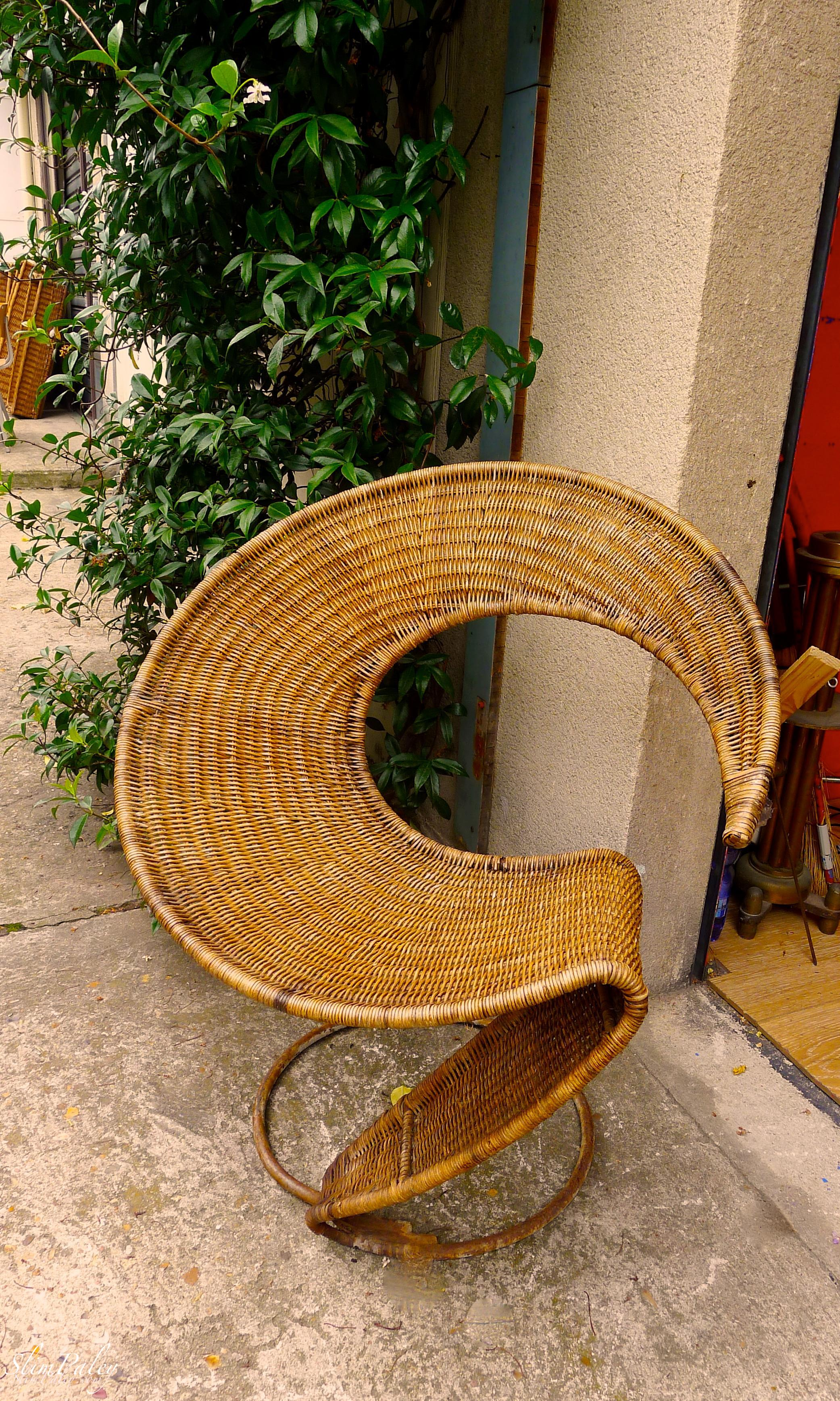 amazing mid-century wicker chair, Paris, Slim Paley