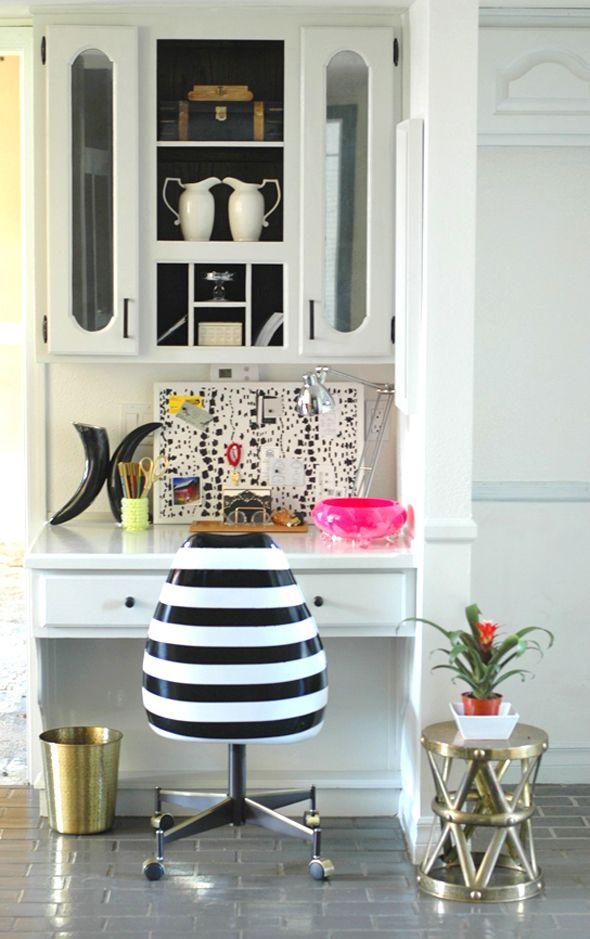 black & white striped chair
