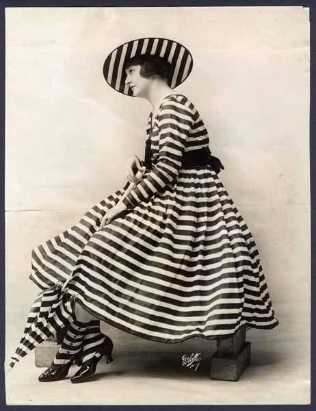 vintage black & white stripe fashion shot