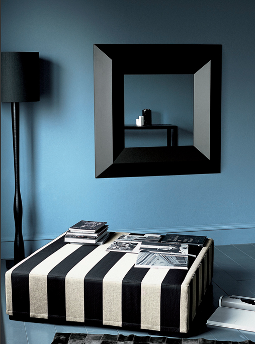 black & white striped ottoman