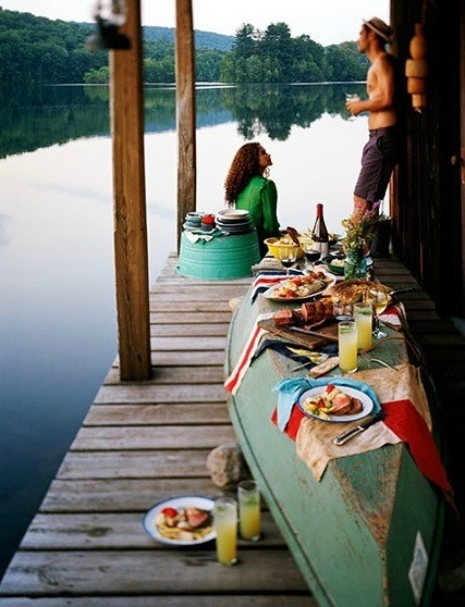 canoe as table