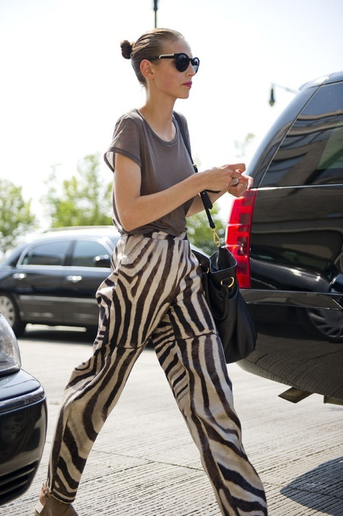 street fashion zebra print pants