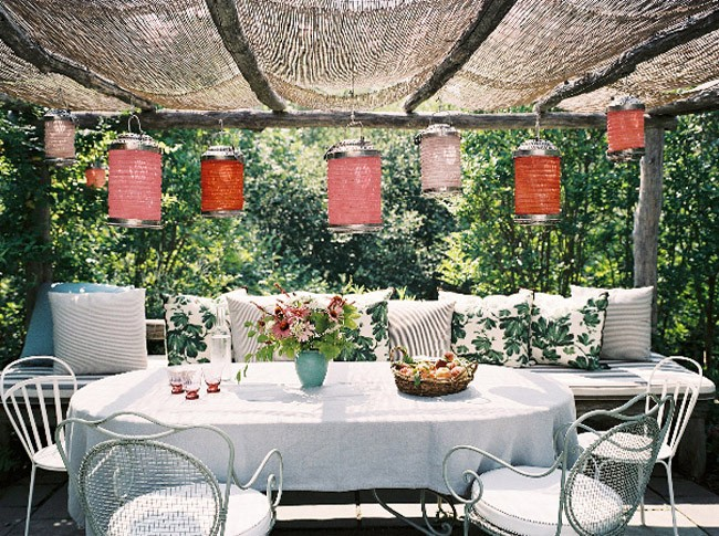terrace with lanterns