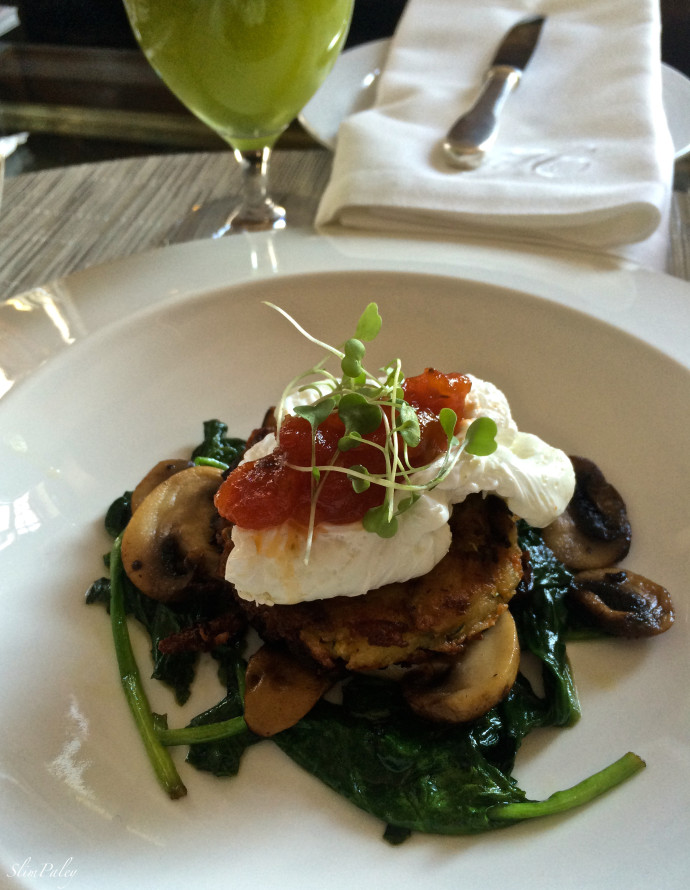 Poached Eggs with spinach & mushrooms